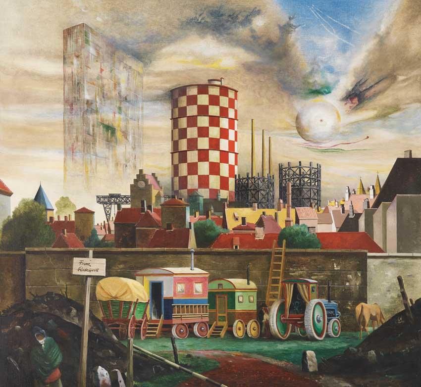 Franz Radziwill: Der bunte Gasometer, 1960