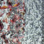 ich sehe bunte, blumenartige Gehänge, Blumen, Wolken